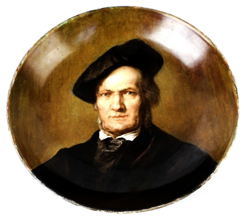 ROYAL VIENNA HAND-PAINTED PLATE OF RICHARD WAGNER