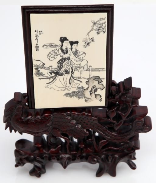 JAPANESE ETCHING ON IVORY PLATE WITH ROOSTER STAND