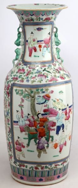 CHINESE POTTERY JUG WITH FLORAL MOTIF