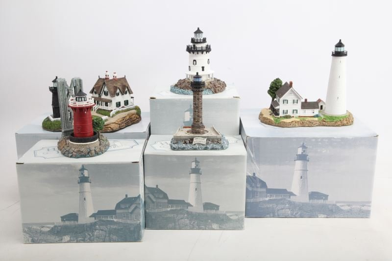 5 DIFFERENT HARBOR LIGHTS LIGHTHOUSES WITH COA