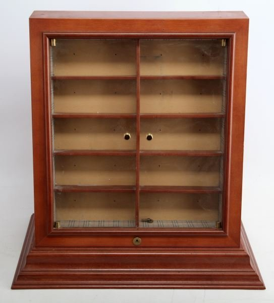 VINTAGE WALNUT CURIO CABINET DISPLAY CUPBOARD