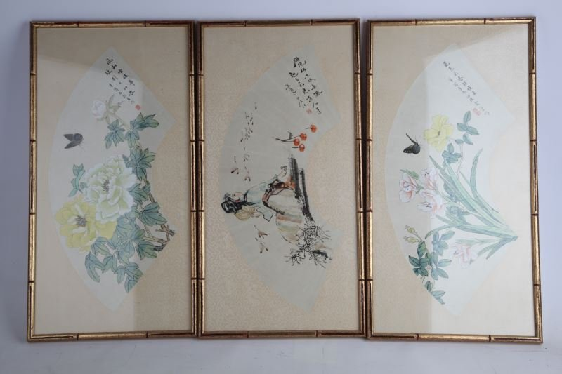 SET OF 3 FRAMED PAINTED JAPANESE HAND FANS