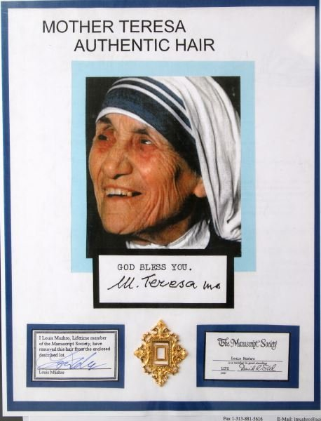 STRAND OF HAIR FROM MOTHER TERESA