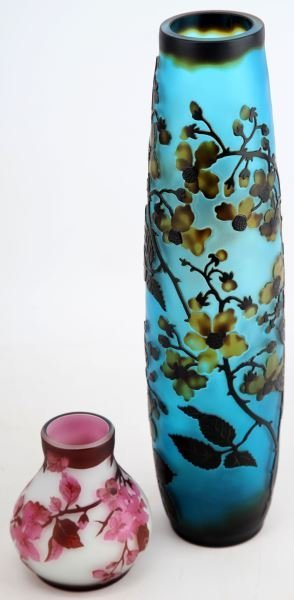 CAMEO GLASS VASE GALLE STYLE LOT OF 2