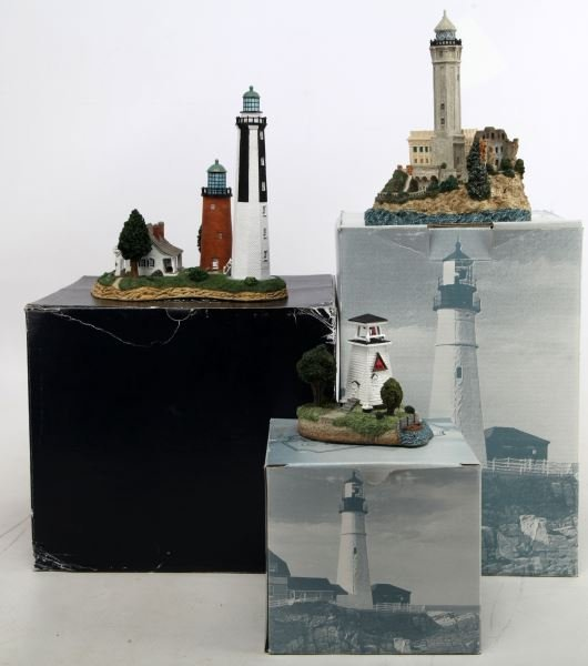 GROUP OF 3 HARBOUR LIGHTS LIGHTHOUSES