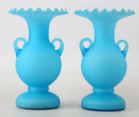 HAND BLOWN RUFFLE GLASS VASES LAYERED GLASS