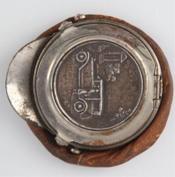 1920'S CHAUFFEUR HAT SHAPED COIN PURSE SILVER CAR
