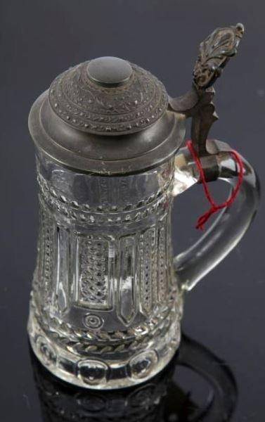 GERMAN REICHS ZINN 3 - MOLD GLASS AND PEWTER STEIN