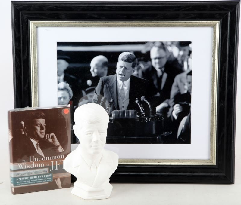 LOT OF JOHN F. KENNEDY PRESS PHOTO, BUST, AND BOOK