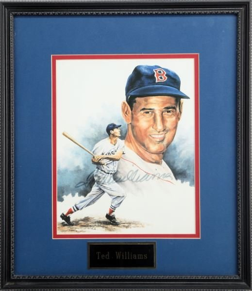 PRINT OF TED WILLIAMS DRAWING SIGNED TED WILLIAMS