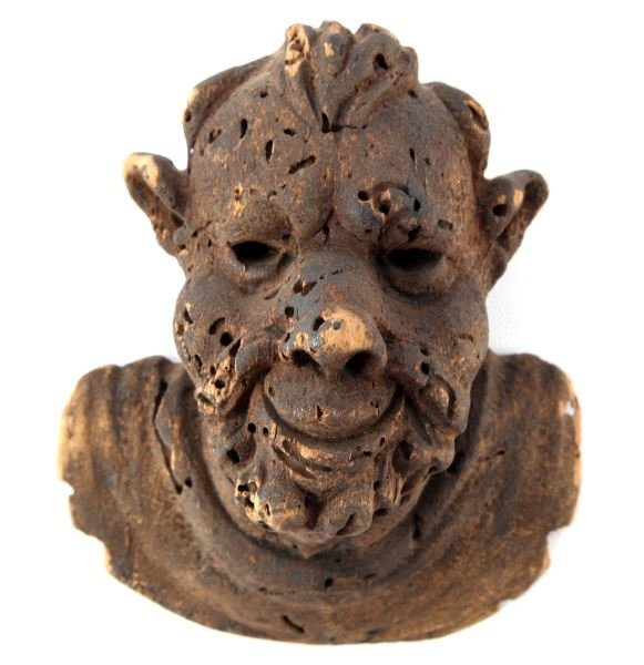 ANTIQUE HAND CARVED TREE FUNGUS FIGURAL DEMON