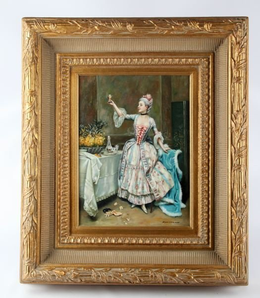 ROCOCO STYLE OIL ON CANVAS PAINTING IN GILT FRAME