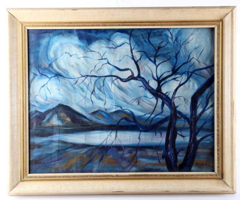 CHARLES MELOHS SEMI-ABSTRACT TREE AND POND SCENE