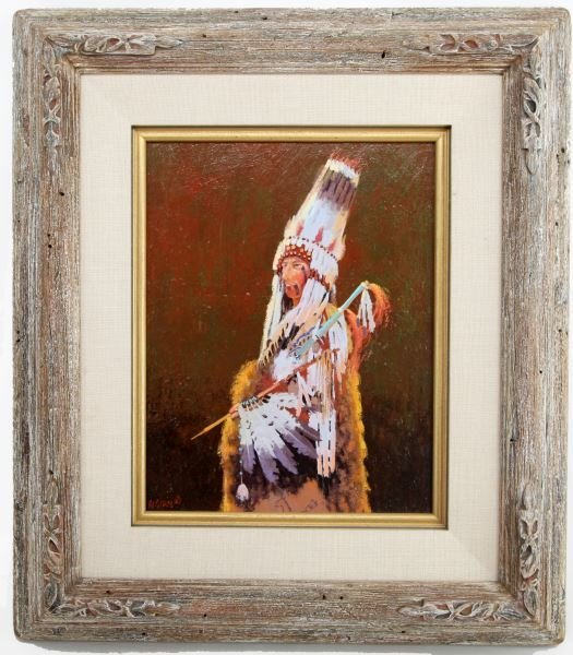 R.E. PIERCE WESTERN CHIEF INDIAN OIL PAINTING
