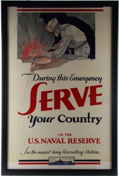 1941 WWII U.S. NAVAL RESERVE PROPAGANDA POSTER