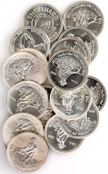 LOT OF 17 ENGELHARD ONE TROY OZT .999 SILVER COINS