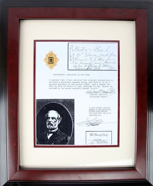GENERAL ROBERT E. LEE STRAND OF HAIR WITH COA