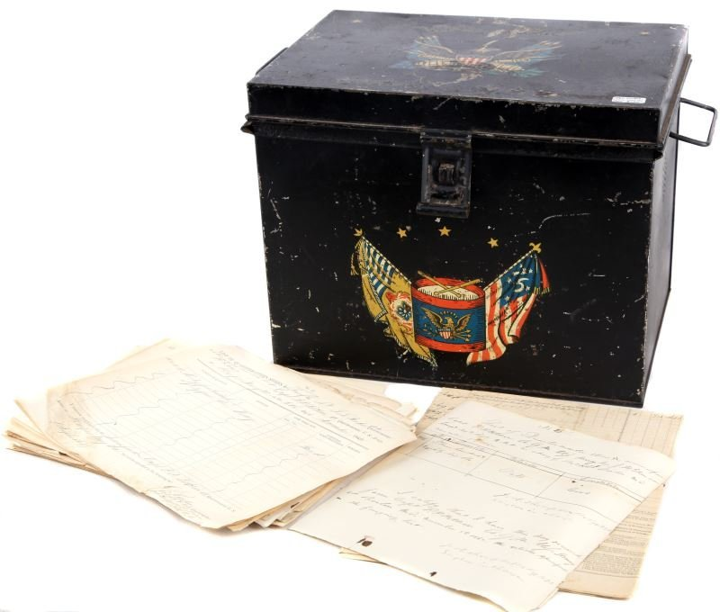 CIVIL WAR QUARTERMASTERS FILE BOX WITH DOCUMENTS