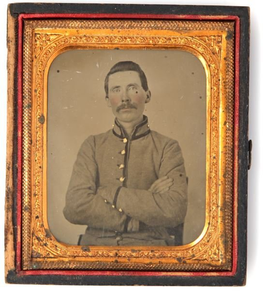 CIVIL WAR AMBROTYPE UNNAMED CONFEDERATE SOLDIER