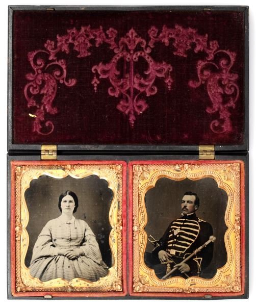 TWO CASED AMBROTYPES DRUM MAJOR AND WIFE