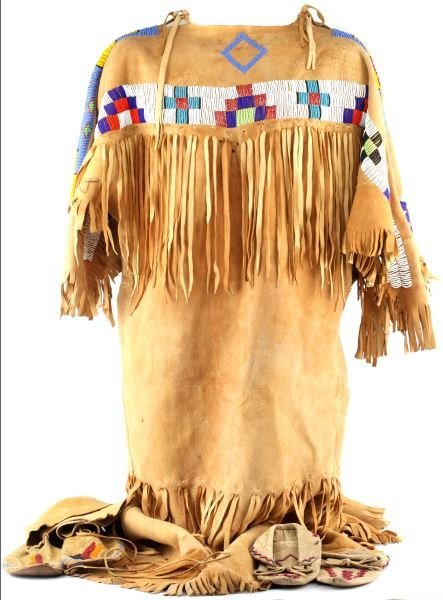 NATIVE AMERICAN BUCKSKIN BEADED DRESS/ MOCCASINS
