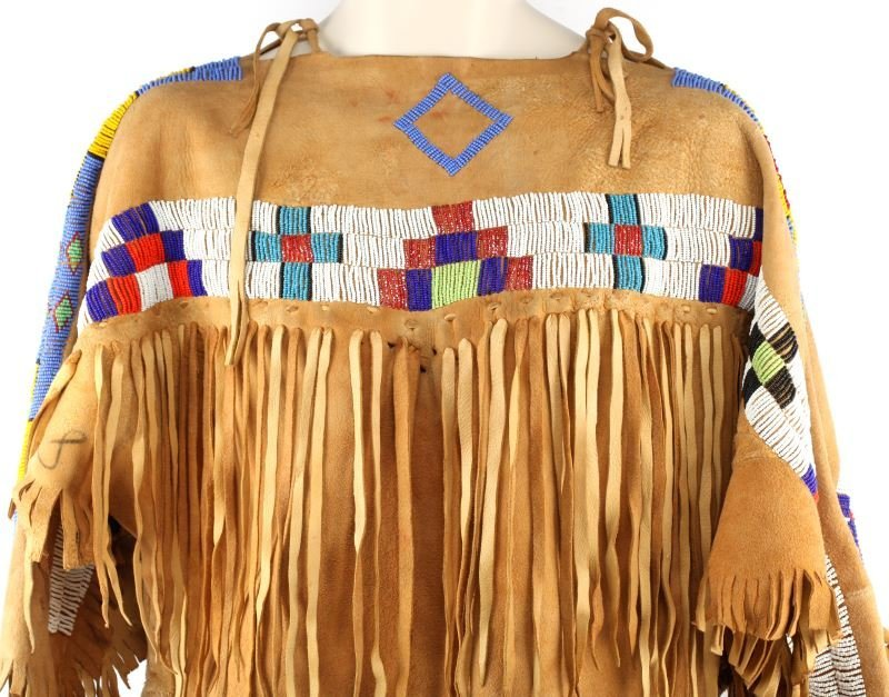 NATIVE AMERICAN BUCKSKIN BEADED DRESS/ MOCCASINS - 2