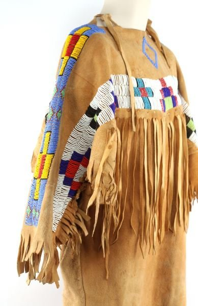 NATIVE AMERICAN BUCKSKIN BEADED DRESS/ MOCCASINS - 3