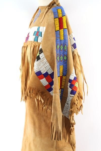NATIVE AMERICAN BUCKSKIN BEADED DRESS/ MOCCASINS - 4