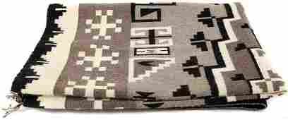 NAVAJO TWO GREY HILLS VINTAGE WOOL RUG BLANKET