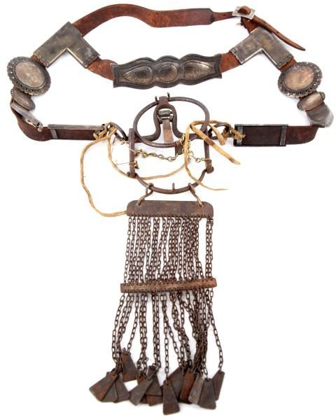 VINTAGE 1880S NAVAJO INDIAN HORSE HEADSTALL BRIDLE