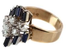 LADIES 14KT YELLOW GOLD DIAMOND  SAPPHIRE RING