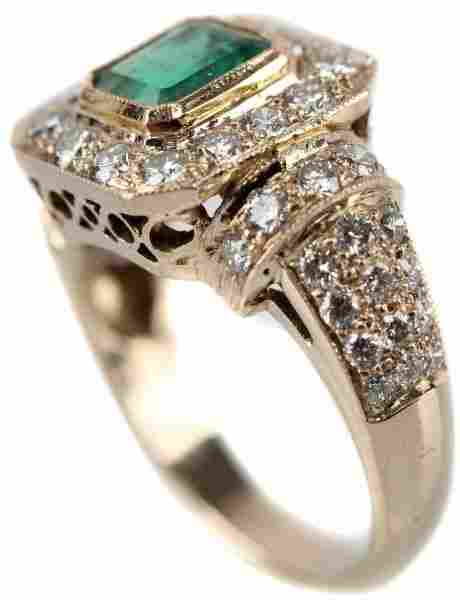 LADIES 14KT YELLOW GOLD EMERALD AND DIAMOND RING