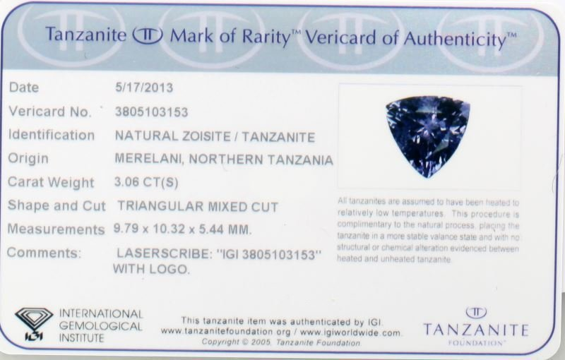 NATURAL ZOISITE TANZANITE 3.06 CT IGI CERTIFIED