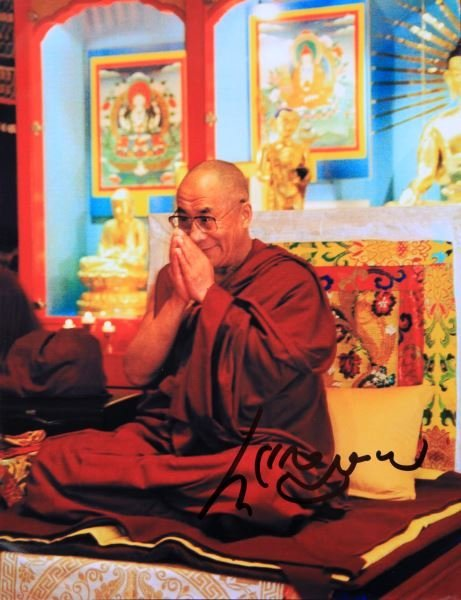 PHOTOGRAPH AND SIGNATURE OF THE DALAI LAMA