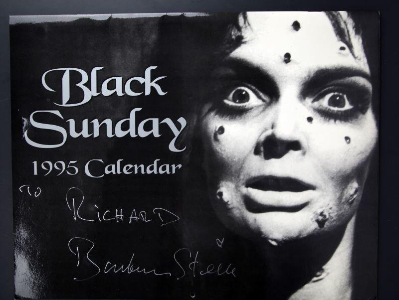 BARBARA STEELE AUTOGRAPHED BLACK SUNDAY CALENDAR