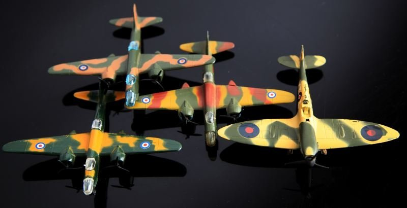 4 LINTOY METAL TOY PLANES SPITFIRE & BOSTON HAVOC