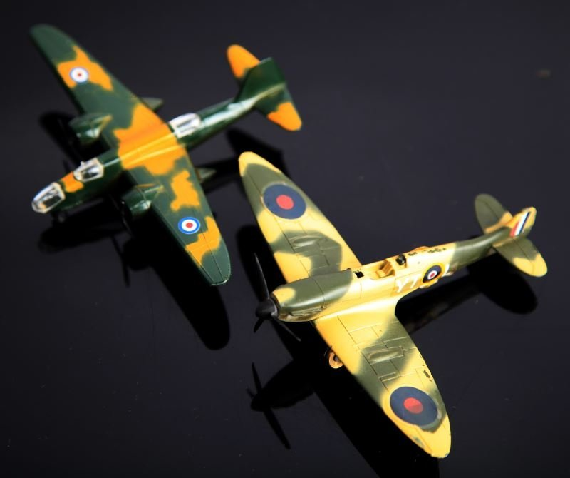 4 LINTOY METAL TOY PLANES SPITFIRE & BOSTON HAVOC - 3
