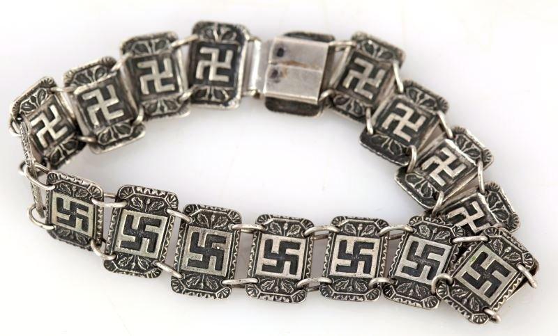 GERMAN WWII SILVER SWASTIKA BRACELET