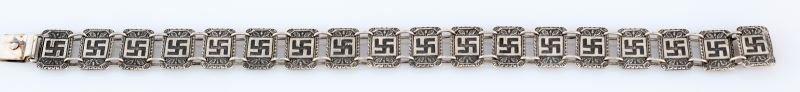 GERMAN WWII SILVER SWASTIKA BRACELET - 2