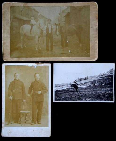 ANTIQUE CABINET PHOTO LOT HORSES & WINCHESTER