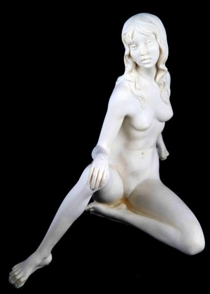 TWO SIGNED A. SANTINI ALABASTER NUDE WOMEN STATUES - 2