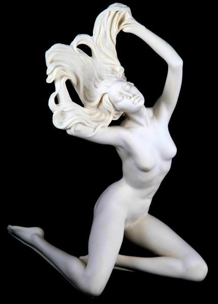 TWO SIGNED A. SANTINI ALABASTER NUDE WOMEN STATUES - 4