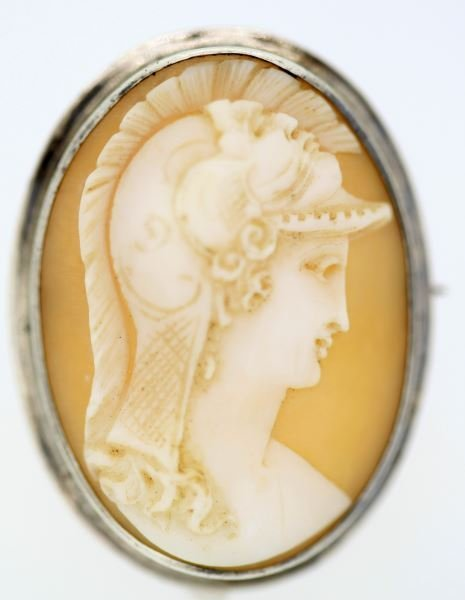 VINTAGE LADIES 10KT WHT GOLD SHELL CAMEO BROOCH