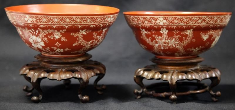 PAIR OF CH'IEN LUNG DYNASTY MONOCHROME BOWLS
