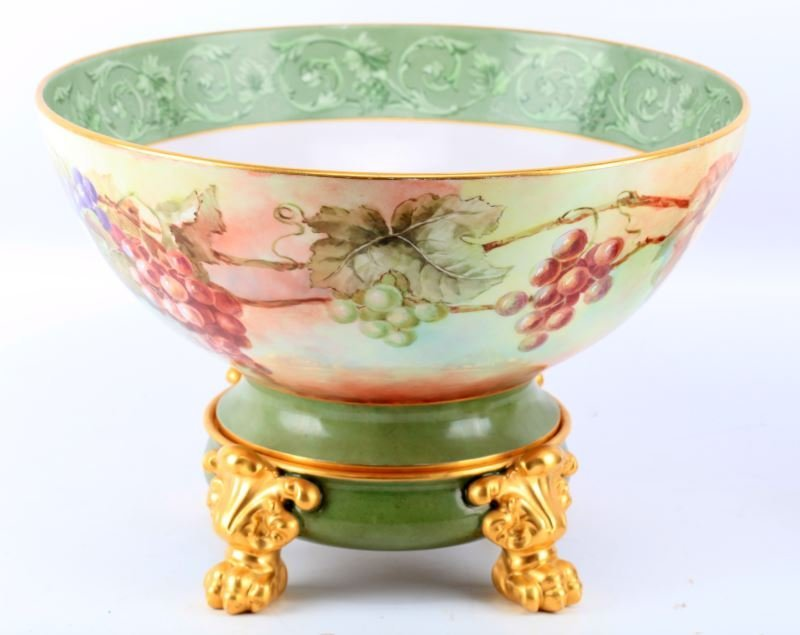 LIMOGES 15.5 INCH HAND PAINTED PUNCH BOWL ON STAND