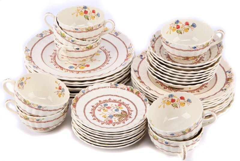 ENGLAND SPODE COWSLIP CHINA LUNCH SETTING FOR 8