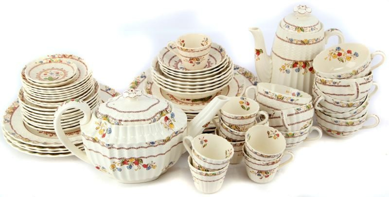 VINTAGE SPODE COWSLIP CHINA SETTING FOR 4 AND MORE