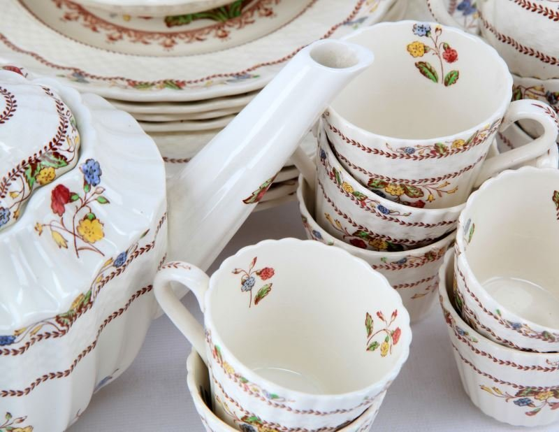 VINTAGE SPODE COWSLIP CHINA SETTING FOR 4 AND MORE - 3