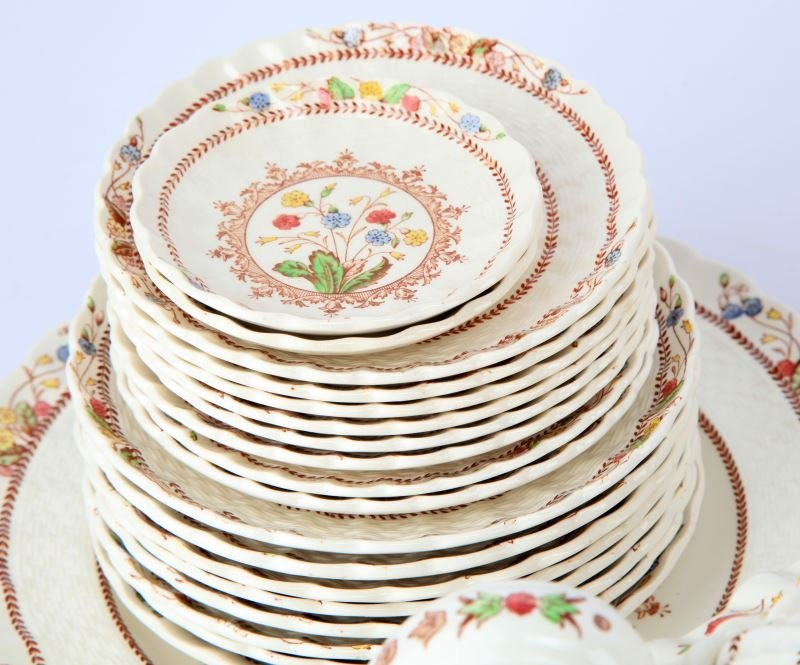 VINTAGE SPODE COWSLIP CHINA SETTING FOR 4 AND MORE - 5