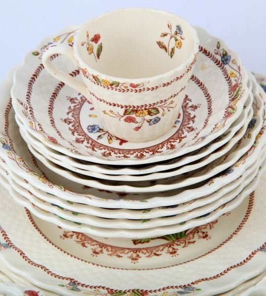 VINTAGE SPODE COWSLIP CHINA SETTING FOR 4 AND MORE - 6
